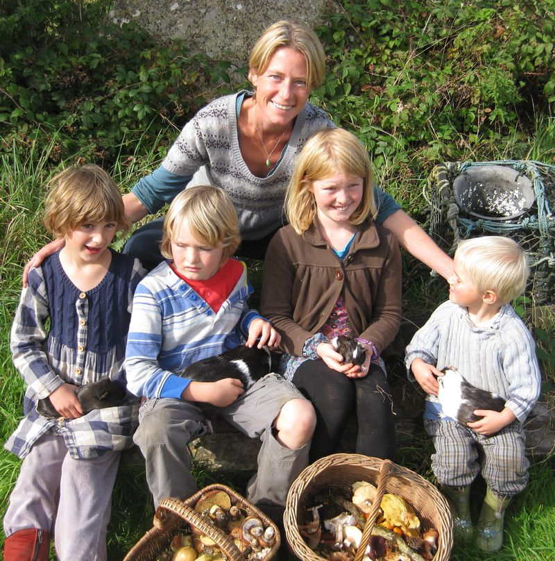 Caz with mushrooms, guinea pigs and kid 2s