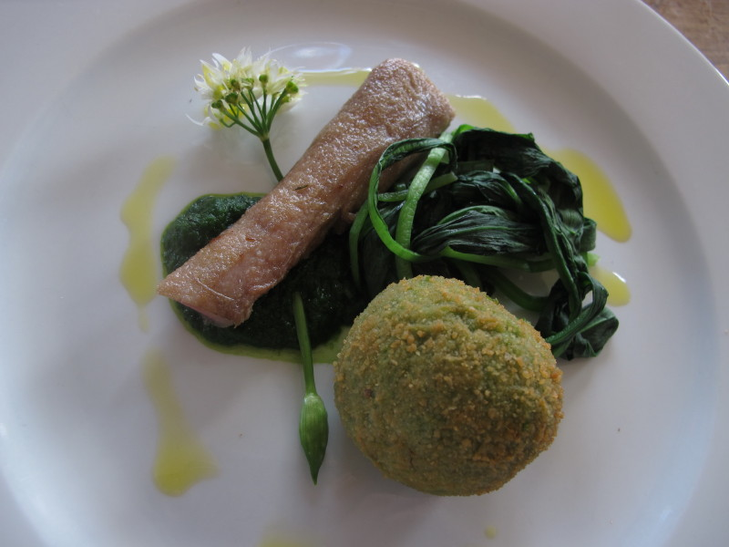 Wild garlic risotto, rabbit, wild garlic puree & wilted wild garlic_1