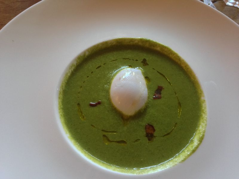 Watercress soup with duck egg and pancetta