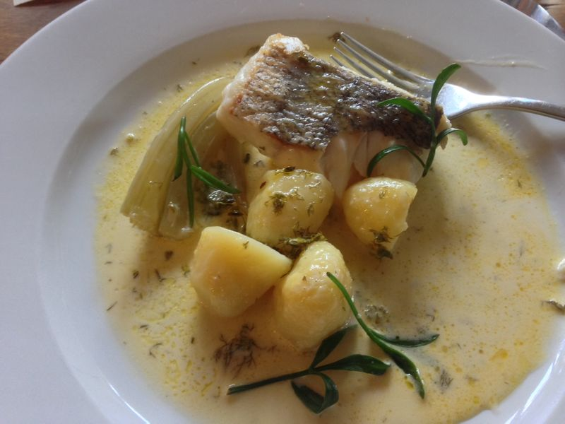 Hake with rock samphire and fennel